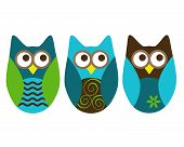 Three different owls on white in shades of blue, green and brown. poster