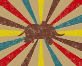 Vintage circus background with elephant in tan, brown, red, teal and yellow. poster