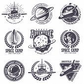 Set of vintage space and astronaut badges, emblems, logos and labels. Monochrome style poster
