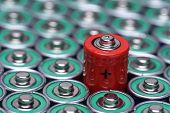 Closeup alkaline battery AAA size with selective focus on single battery poster