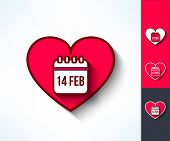 Set of vector valentines calendar reminder symbols made in modern flat design. Love and romance design element. poster