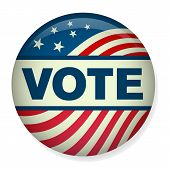 Retro or Vintage Style Vote or Voting Campaign Election Pin Button or Badge.  Use this pin on infographics, blog headers, flyers, or web pages.  Or print it out and create a real pin or badge! poster