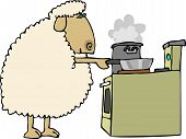 this illustration depicts a sheep cooking on a stove. poster