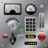 Set of meters, buttons and other machinery parts on metallic dashboard panel. Vector illustration poster