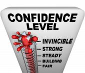 A thermometer with mercury bursting through the glass and the words Confidence Level symbolizing a positive attitude poster