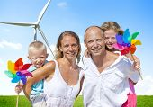 Family Bonding Turbine Cheerful Lifestyles Concept poster