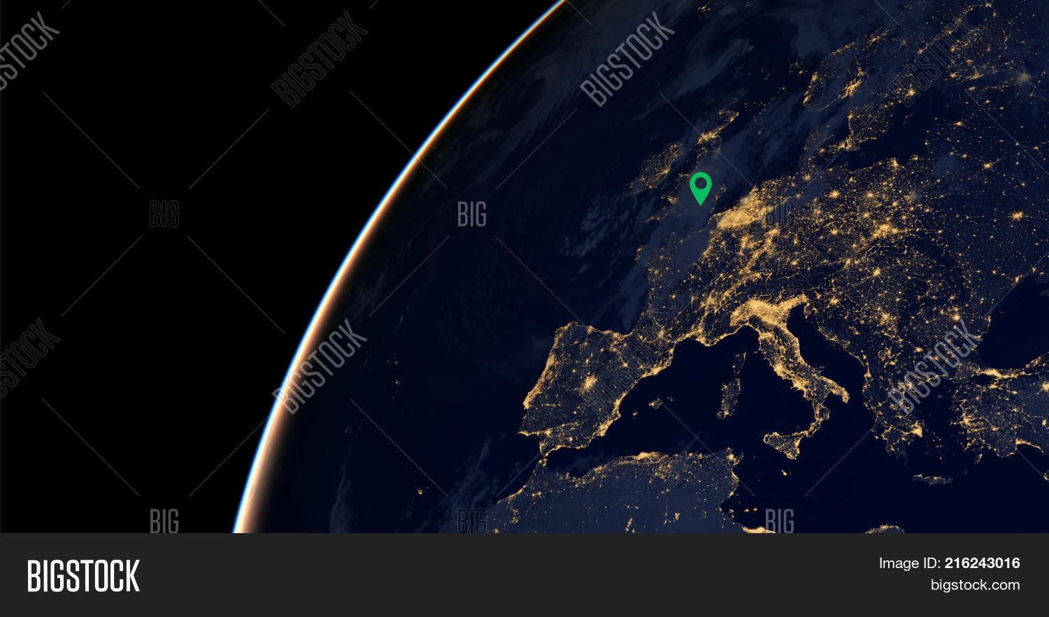 City lights on world map location image photo bigstock city lights on world map with a location pin on london europe elements of gumiabroncs Image collections