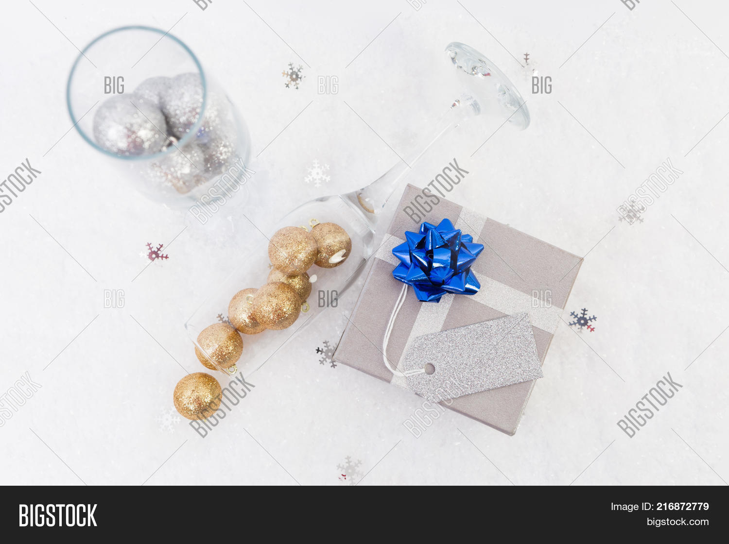 new year or christmas concept gift with blank label