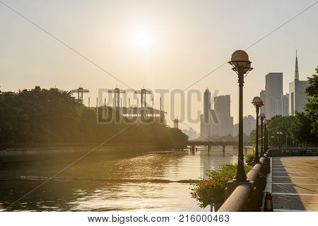 Scenic View Of Embankment Of The Pearl River At Sunset