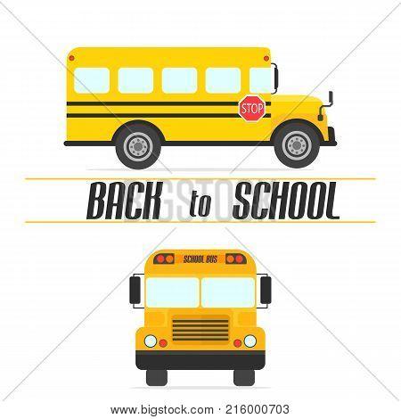 Yellow school bus.Time to school. Vector illustration