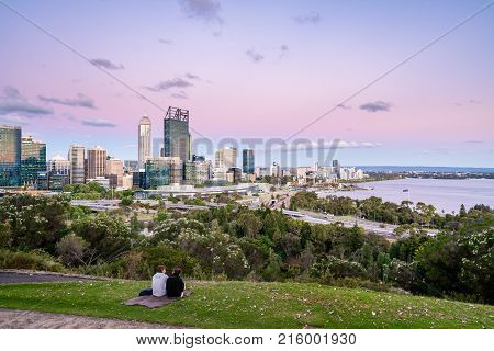 Sunset over Perth city, Western Australia, viewed from Kings Park. Photographed: November 28th, 2017.