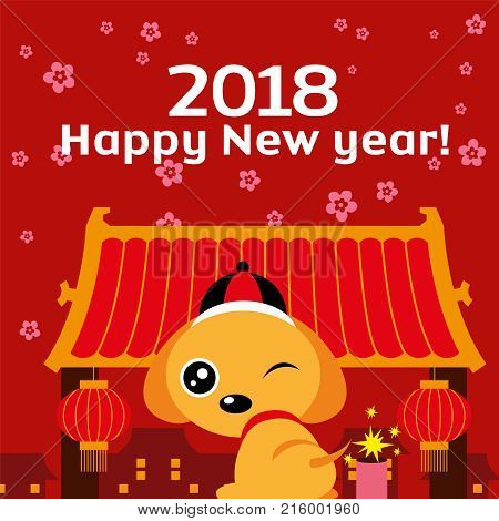 The year of the Dog 2018. Chinese New Year 2018. Translation: Happy New Year! Cute dog mascot with china town background.