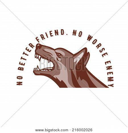 Retro style illustration of an angry German shepherd dog growling viewed from side with words text