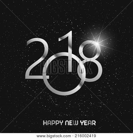 Happy New Year greeting card with shining silver text and snow on black background. 2018 Vector.