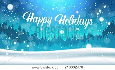 Happy Holidays Background Night In Winter Forest Landscape Falling Snow Flat Vector Illustration
