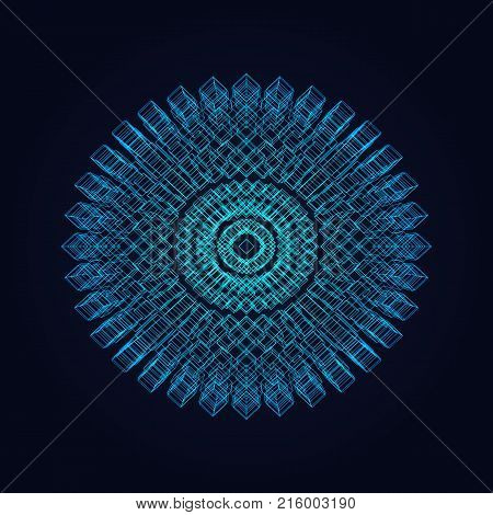 Abstract vector illustration. Mandala with cubic elements
