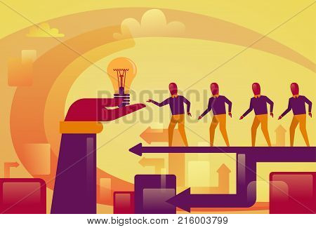 Business People Walking To Abstract Hand Holding Light Bulb New Startup Idea Development Concept Vector Illustration