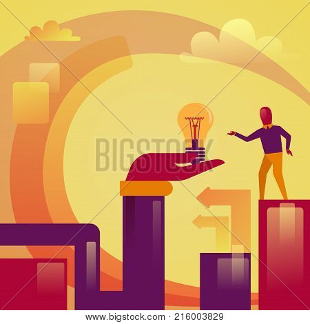 Abstract Hand Holding Light Bulb Business Man New Startup Idea Development Concept Vector Illustration