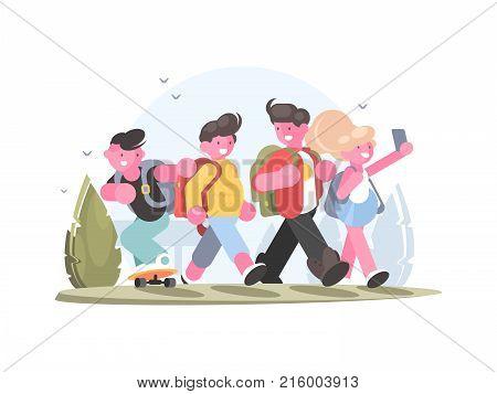 Friendly group of schoolchildren go in school to study. Vector illustration
