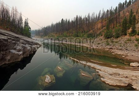 Meadow Creek Gorge on the South Fork of the Flathead River in the Bob Marshall Wilderness area during the 2017 fall fires in Montana United States poster