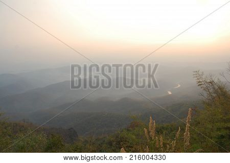 Aerial View Landscape Mountain And Forest In Nan City From Doi Samer Dao In Sri Nan National Park Of