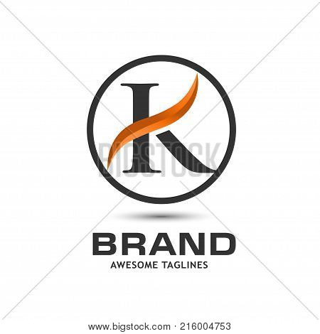 Business corporate letter K swoosh logo design template. Simple and clean flat design of letter K logo vector template. Letter K logo for business .