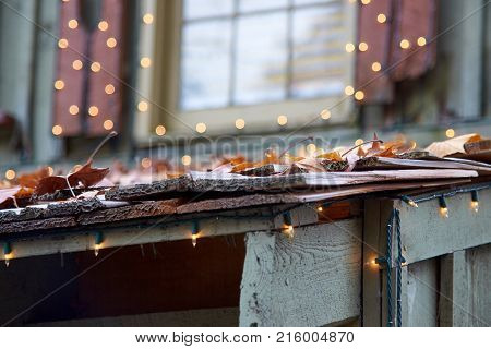 Fall leaves laying on small roof with window