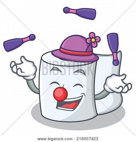 Juggling tissue character cartoon style vector illustration poster