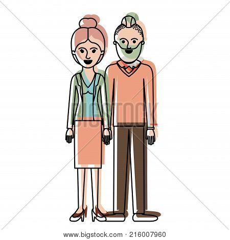 couple in watercolor silhouette and her with blouse and jacket and skirt and heel shoes with collected hair and him with beard and sweater and pants and shoes with taper fade haircut vector illustration