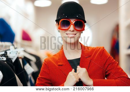 Eccentric Stylish Fashion Girl With Big Sun glasses and Chic Hat