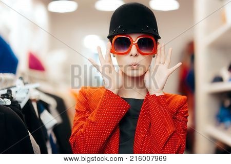 Eccentric Stylish Fashion Girl With Big Shades and Chic Hat