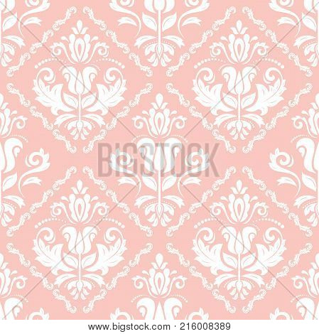 Orient vector classic pink and white pattern. Seamless abstract background with repeating elements. Orient background