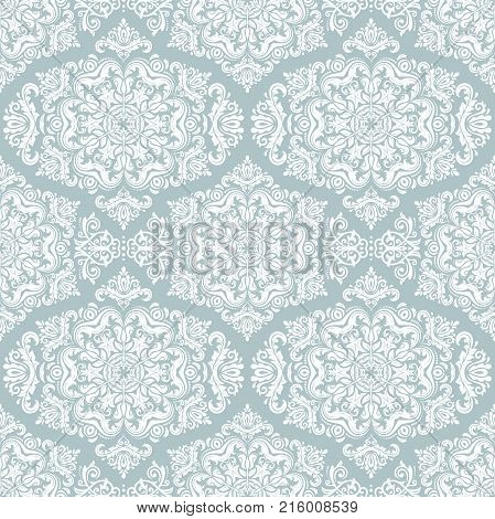 Orient vector classic pattern. Seamless abstract background with repeating elements. Orient light blue and white background