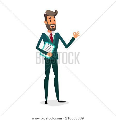 Funny cartoon investor showing ok sign. The manager is in a suit with a beard. Design for business vacancy
