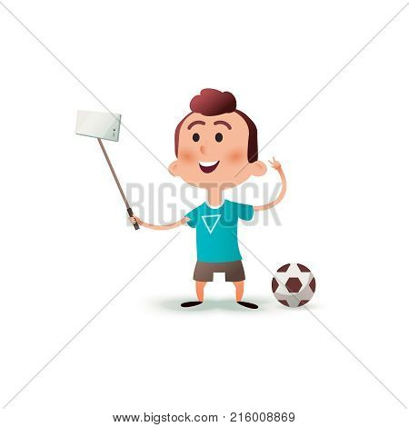 Cartoon little boy character makes selfie. Portrait of a child making selfie photo on smartphone isolated on a white background. The kid takes pictures of himself on the phone on flat style.