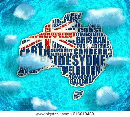 Map of Australia made from cities list textured by national flag. Blue and bright turquoise sea, yellow sand background