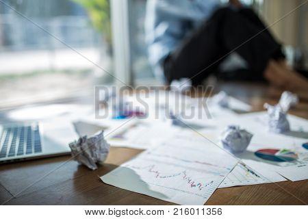 Business Asian Man Stress And Sad Business Failure Concept.