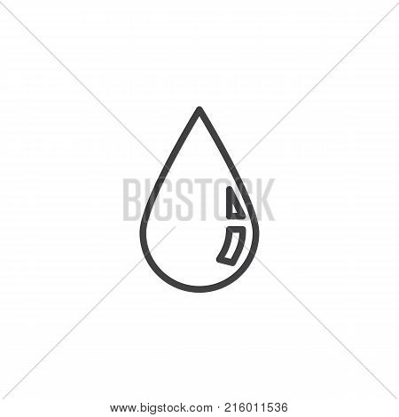 Rain drop line icon, outline vector sign, linear style pictogram isolated on white. Water droplet symbol, logo illustration. Editable stroke