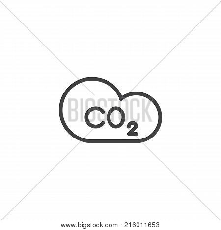 Carbon dioxide and cloud line icon, outline vector sign, linear style pictogram isolated on white. CO2 symbol, logo illustration. Editable stroke