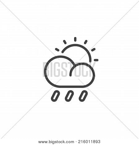 Rain cloud sun line icon, outline vector sign, linear style pictogram isolated on white. The sun and partly cloudy weather symbol, logo illustration. Editable stroke