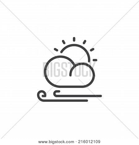 Sun cloud and wind line icon, outline vector sign, linear style pictogram isolated on white. Partly cloudy windy weather symbol, logo illustration. Editable stroke