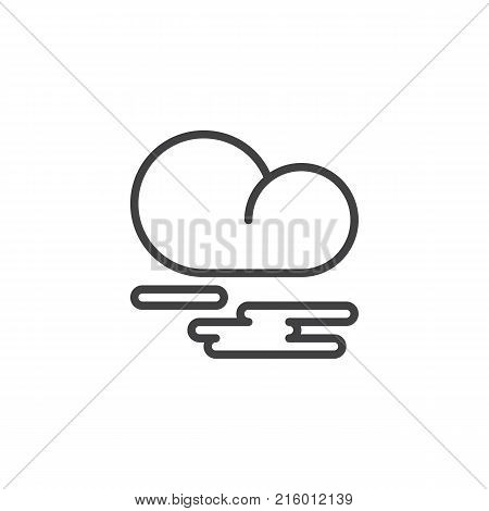 Mist fog and cloud line icon, outline vector sign, linear style pictogram isolated on white. Fog or smoke symbol, logo illustration. Editable stroke