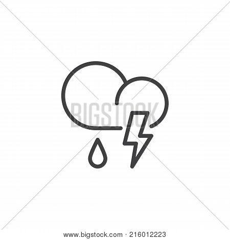 Cloud thunderstorm lightning rain line icon, outline vector sign, linear style pictogram isolated on white. Partly weather symbol, logo illustration. Editable stroke