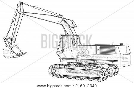 Construction Machine Vehicle. Excavator. EPS10 format. Vector created of 3d