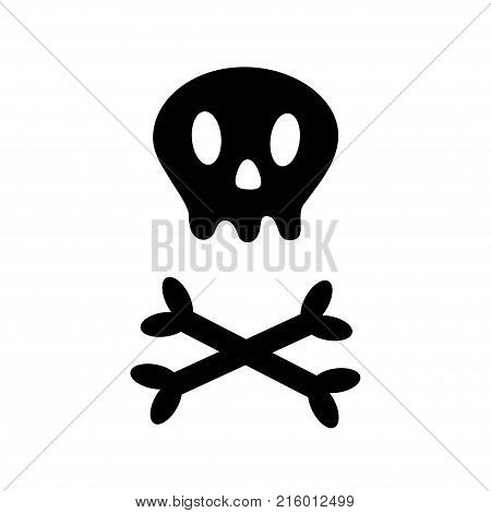 Skull with bone crosswise icon shape. White crossbones. Skeleton body part. Happy Halloween sign symbol. Cute cartoon simple character. Pirate flag element White background Isolated Flat design Vector