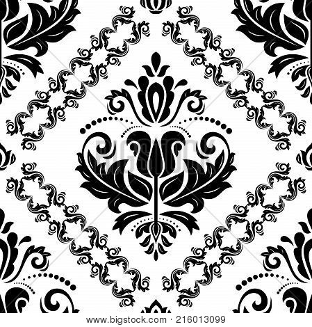 Orient vector classic pattern. Seamless abstract background with repeating elements. Orient black and white background