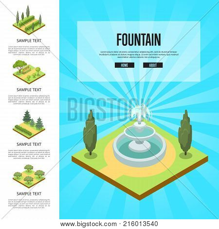 Natural parkland landscape with fountain isometric infographics. Public park zone decoration, fields with decorative plants. Green alley with grass, trees, bushes and wooden bench vector illustration.