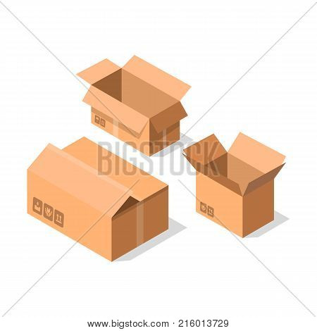 Empty opened cardboard boxes icon set. Delivery tare, goods package collection vector illustration isolated on white background in flat style.
