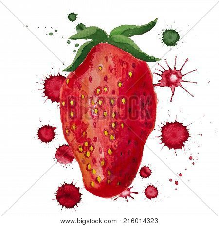 Watercolor Image Of Strawberry With Paint Blots On White Background