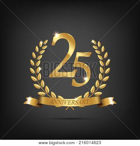 25 anniversary golden symbol. Golden laurel wreaths with ribbons and twenty fifth anniversary year symbol on dark background. Vector anniversary design element
